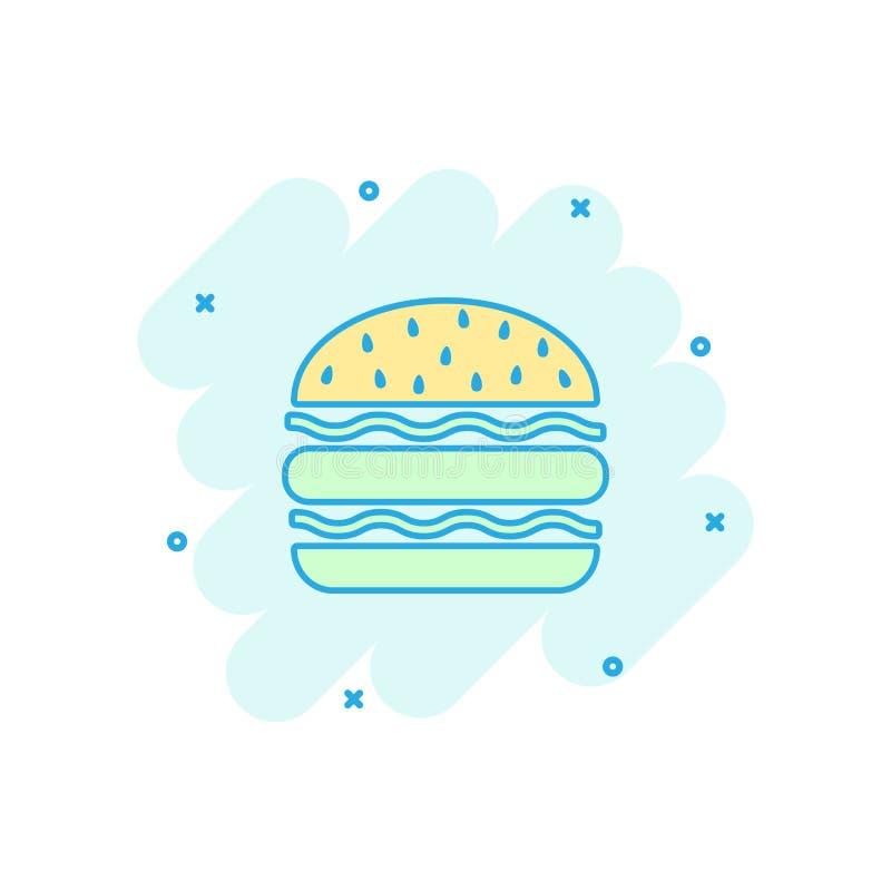 Vector o ícone do fast food do hamburguer dos desenhos animados no estilo cômico Hamburger s ilustração stock