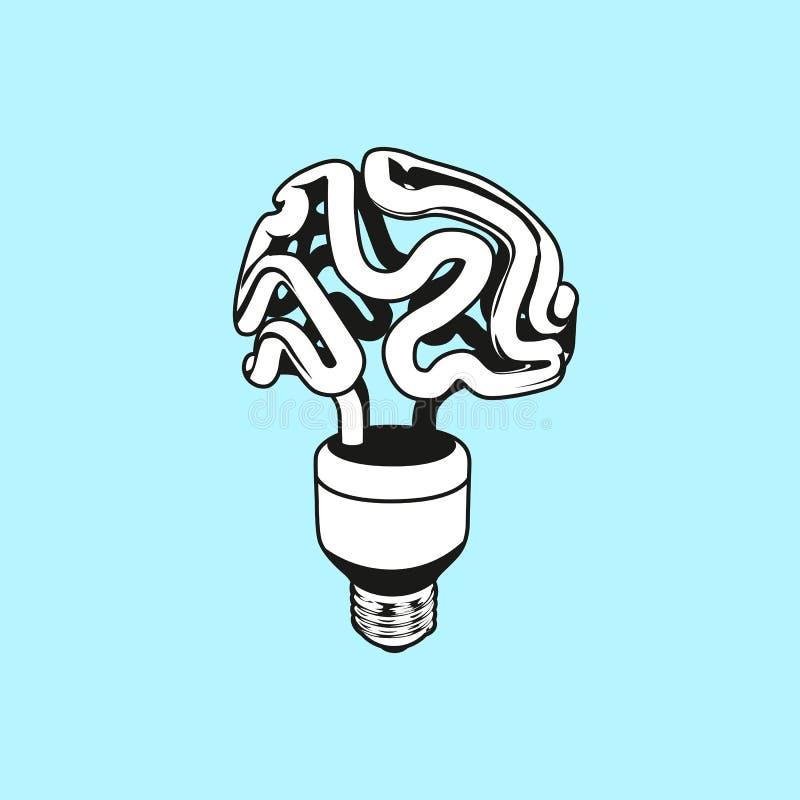 Vector o ícone do logotipo, o emblema com cérebro e a ampola Ilustração linear lisa abstrata Conceito de projeto para o começo ac ilustração stock