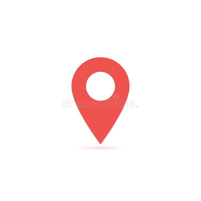 Vector o ícone do lugar do mapa isolado com sombra macia Elemento para a relação do Web site do app do ui do projeto Molde em bra ilustração do vetor