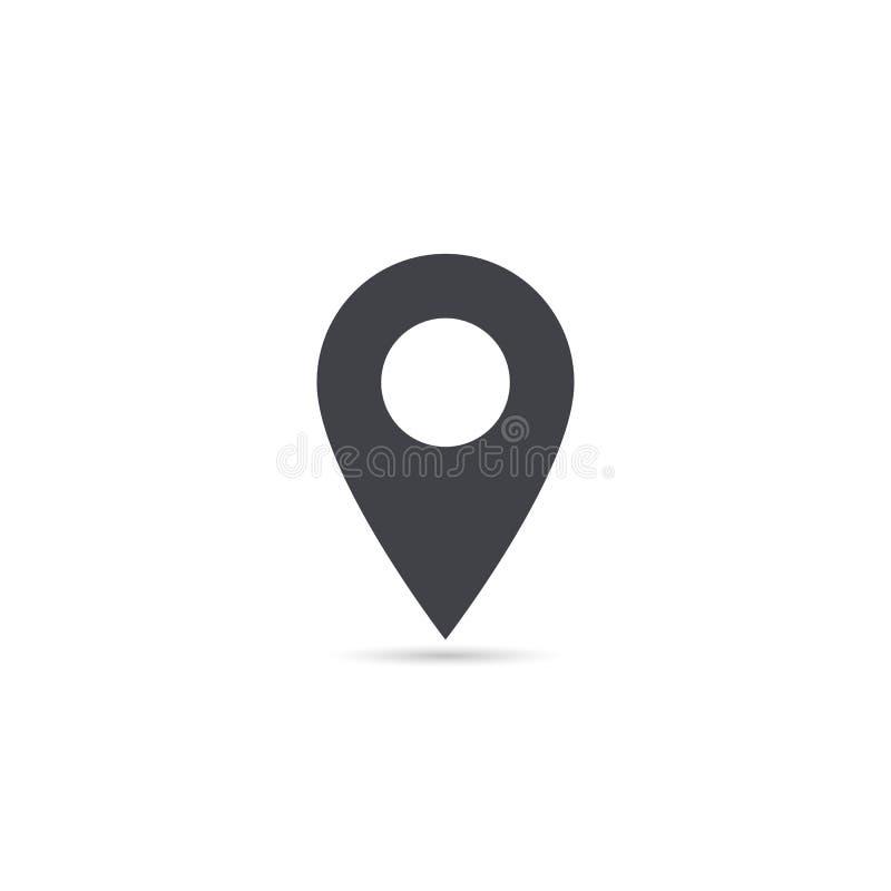Vector o ícone do lugar do mapa isolado com sombra macia Elemento para a relação do Web site do app do ui do projeto Molde em bra ilustração stock