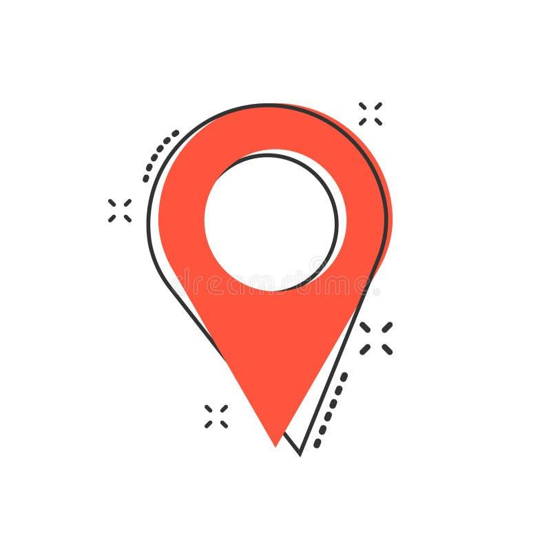Vector o ícone do lugar do pino dos desenhos animados no estilo cômico Mapa da navegação, ilustração do vetor
