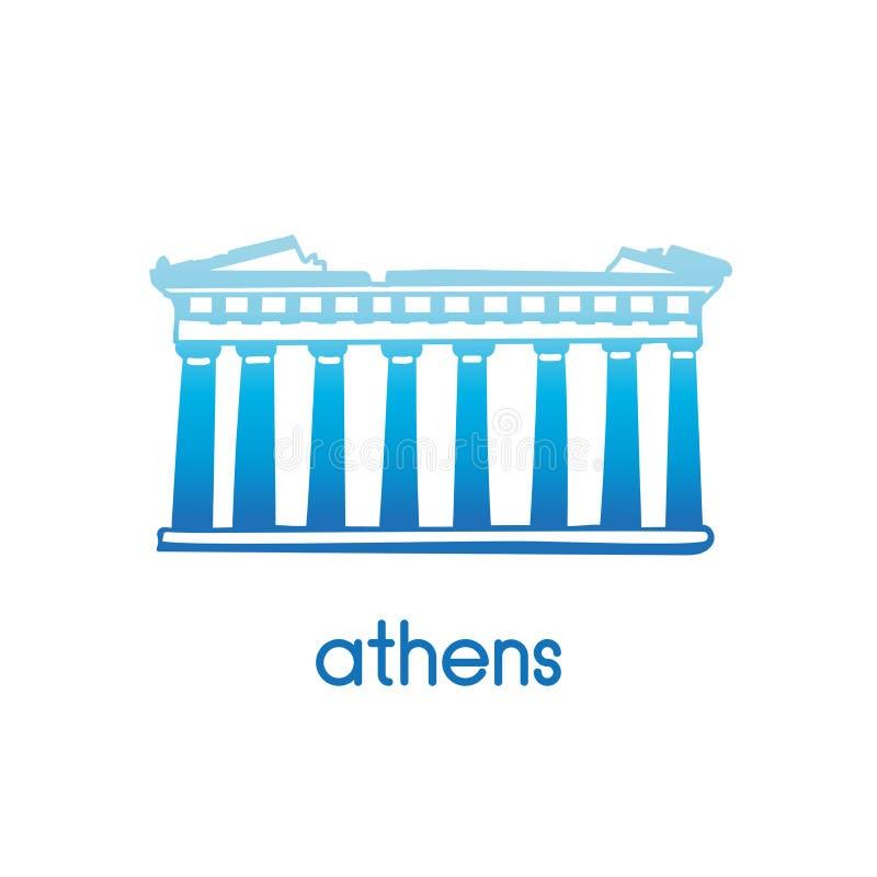 Vector o ícone do Partenon em Atenas no inclinação azul ilustração stock