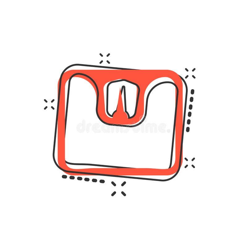 Vector o ícone do pesador da escala de banheiro dos desenhos animados no estilo cômico pese ilustração do vetor