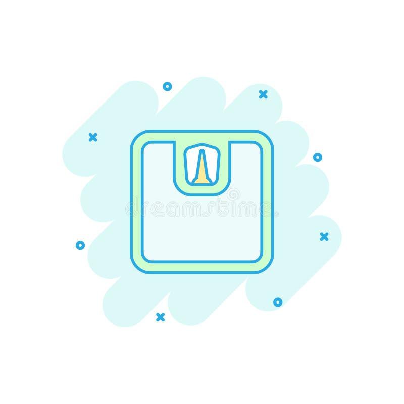 Vector o ícone do pesador da escala de banheiro dos desenhos animados no estilo cômico pese ilustração royalty free