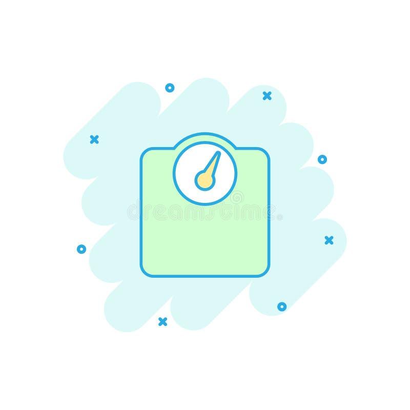 Vector o ícone do pesador da escala de banheiro dos desenhos animados no estilo cômico pese ilustração stock