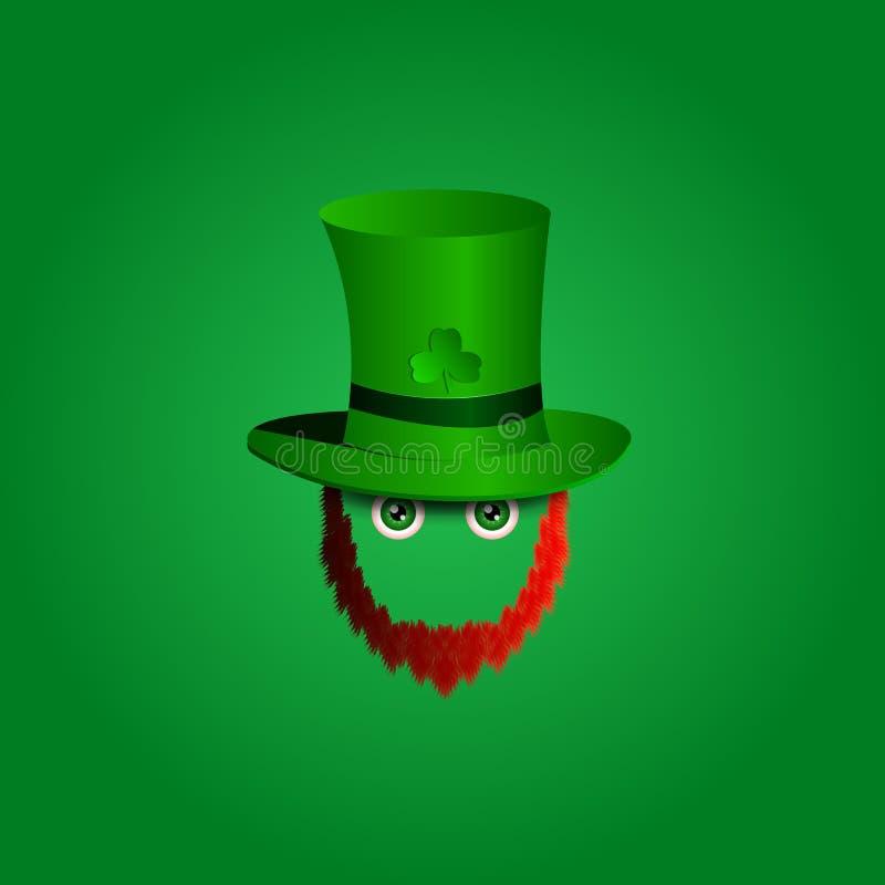 Vector o ícone do projeto moderno no duende do caráter do dia de St Patrick com chapéu verde, a barba vermelha e os olhos verdes ilustração do vetor