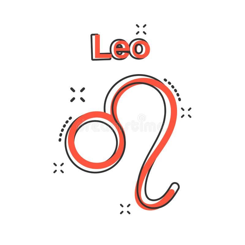 Vector o ícone do zodíaco de leo dos desenhos animados no estilo cômico Sinal IL da astrologia ilustração stock