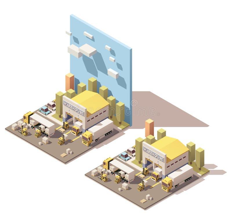 Vector o ícone isométrico da construção do armazém com os caminhões carregados por empilhadeiras ilustração stock