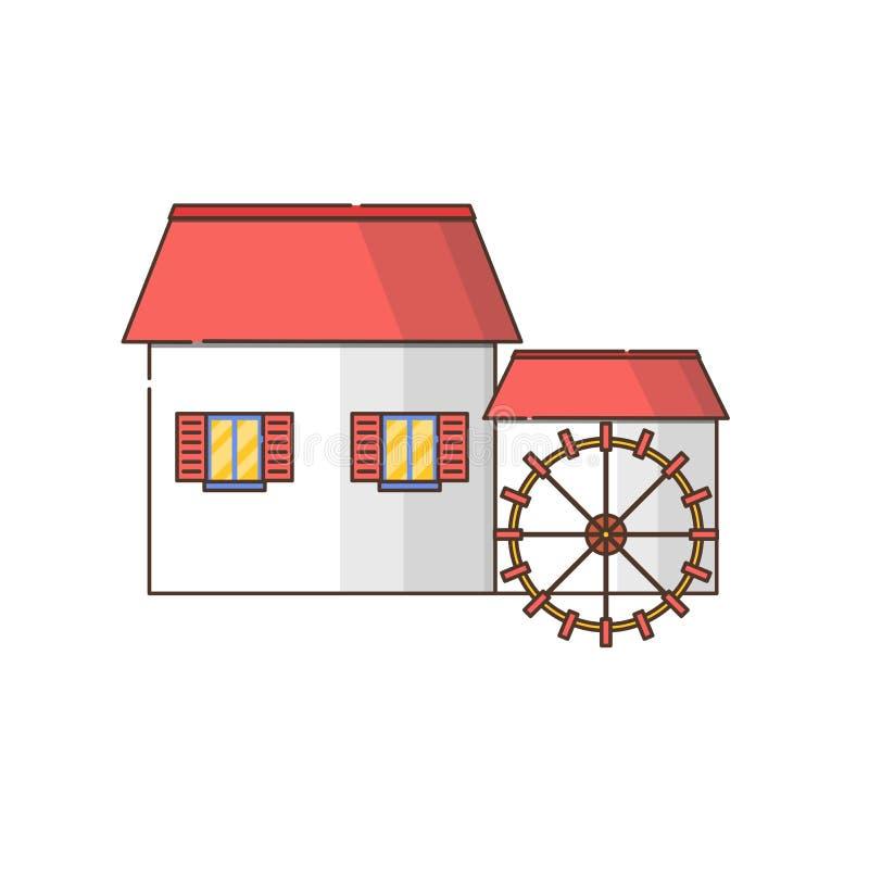 Vector o ícone liso do watermill dos desenhos animados isolado no fundo ilustração stock