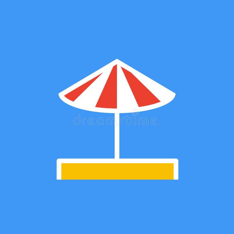 Vector o ícone ou a ilustração que mostram o guarda-chuva na areia no estilo do esboço ilustração do vetor