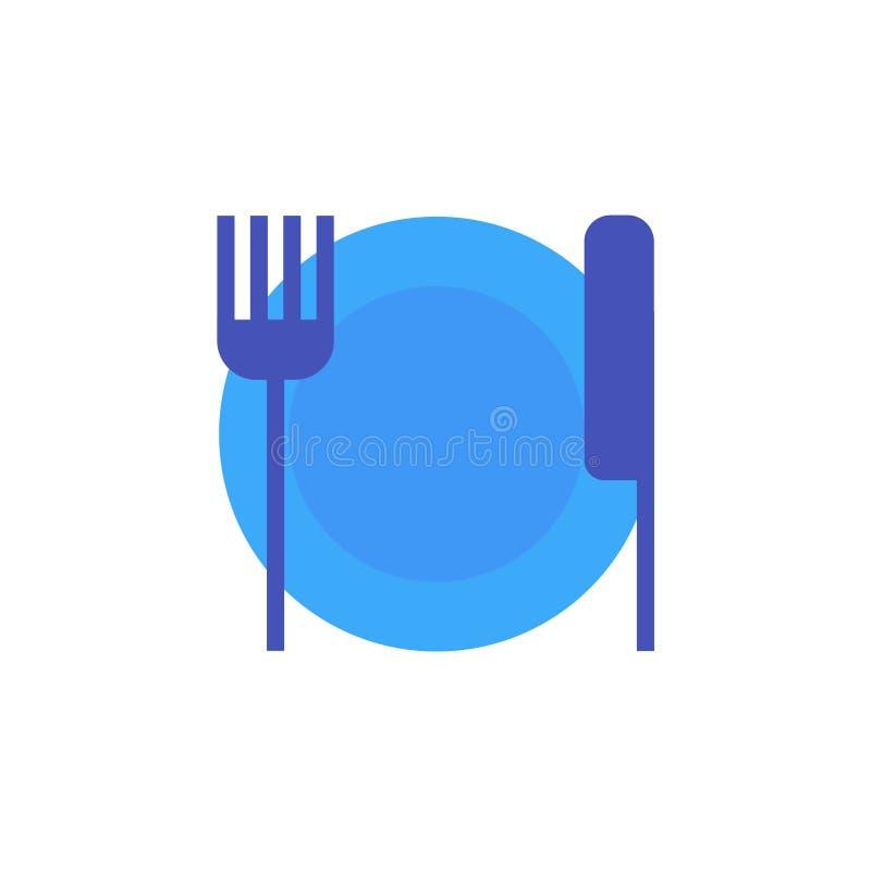 Vector o ícone ou a ilustração que mostram a placa, a faca e a forquilha no estilo material do projeto ilustração do vetor