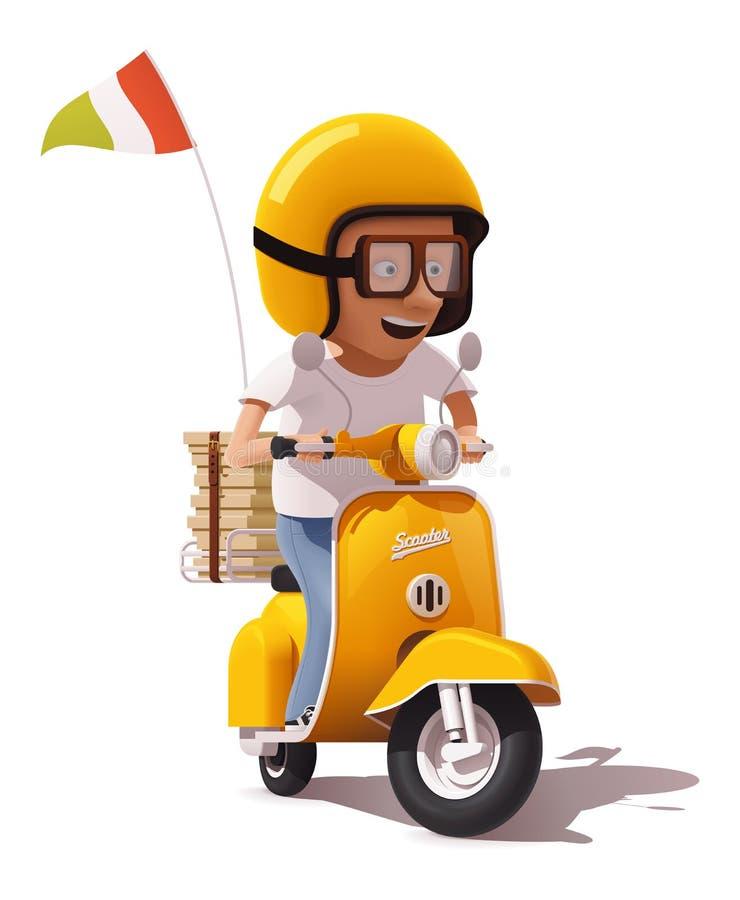 Vector o ícone retro realístico do motorista do correio do 'trotinette' e da pizza da entrega da pizza ilustração stock