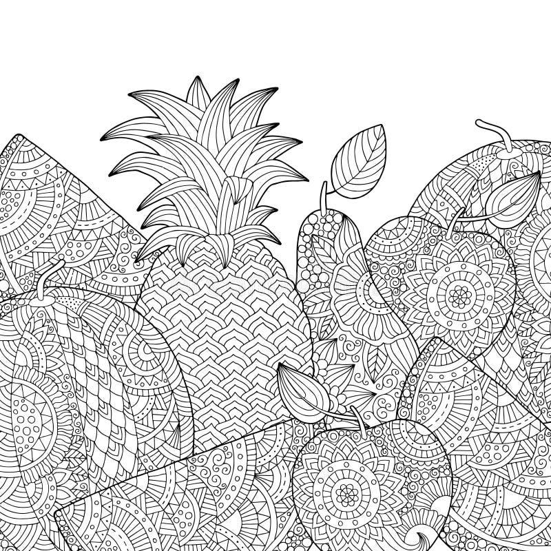 Vector o abacaxi tirado mão, melancia, ilustração da maçã para o livro para colorir adulto Esboço a mão livre para anti adulto ilustração royalty free