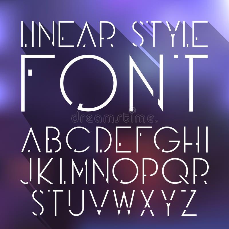Vector o alfabeto simples e minimalistic linear da fonte - na linha estilo ilustração stock