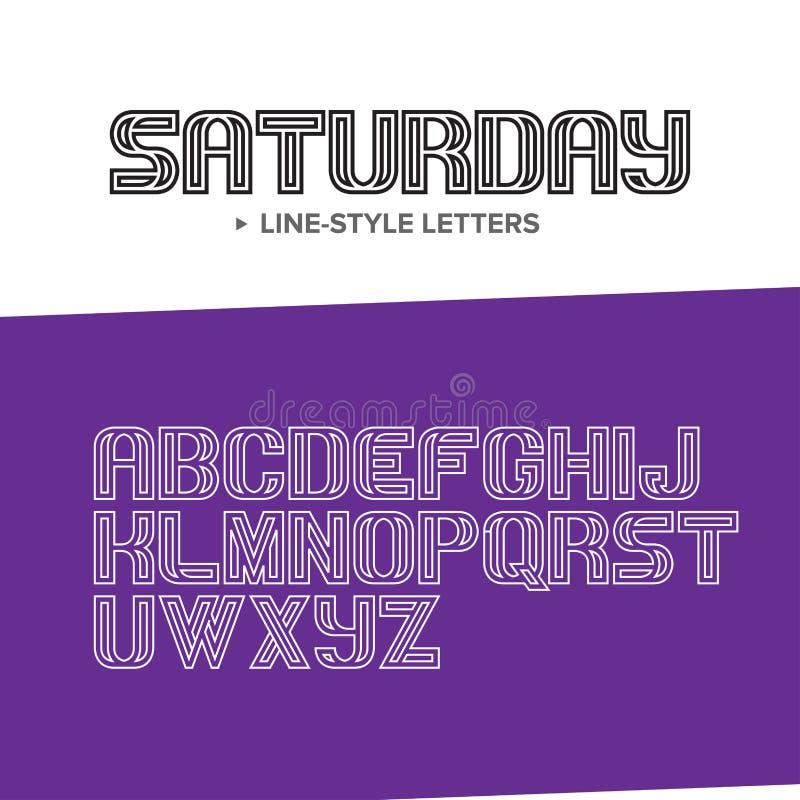 Vector o alfabeto simples e minimalistic linear da fonte - na mono linha estilo - elementos do projeto da tipografia ilustração stock