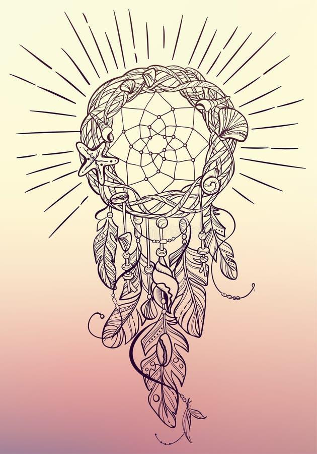 Vector o amuleto de Dreamcatcher da talismã indiana do estilo, do nativo americano do mar com penas e dos shell ilustração stock