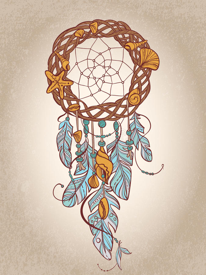 Vector o amuleto de Dreamcatcher da talismã indiana do estilo, do nativo americano do mar com penas e dos shell ilustração royalty free