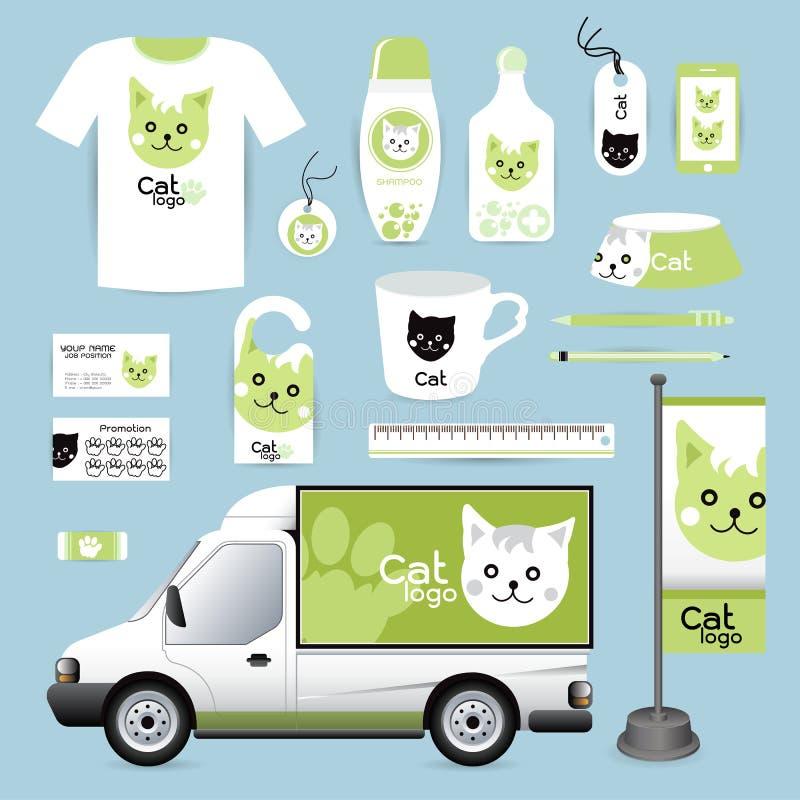 Vector o animal do projeto incorporado da identidade, animal Hospita do gato do logotipo ilustração royalty free