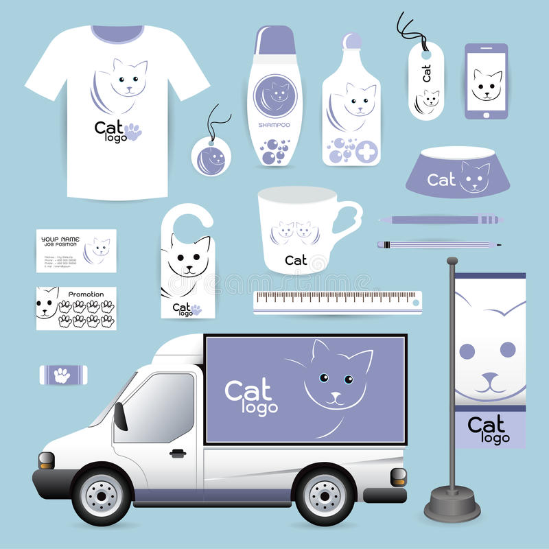 Vector o animal do projeto incorporado da identidade, animal Hospita do gato do logotipo ilustração stock