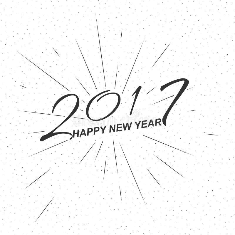 Vector o ano novo feliz 2017 do texto monocromático para o cartão, inseto, logotipo do cartaz ilustração royalty free