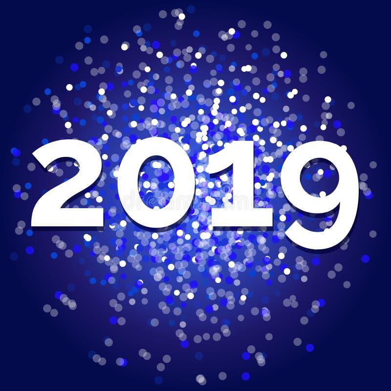 Vector o ano novo 2019, projeto azul extravagante do brilho ilustração royalty free