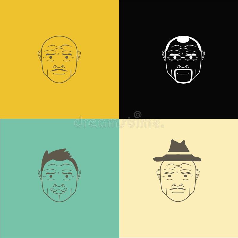 Vector o Avatar calvo do homem - ilustração do EPS 10 Vidros, chapéu, cabelo ilustração stock