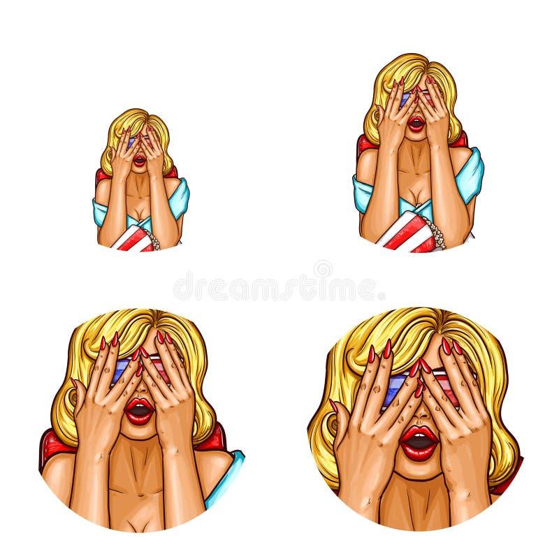 Vector o avatar do pop art, ícone do pino acima da menina 'sexy' nos vidros 3d Mulher assustado com mãos levantadas que olha 3d u ilustração do vetor