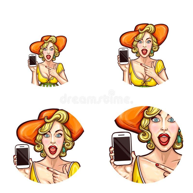 Vector o avatar do pop art, ícone do pino chocado, surpreendido acima da menina no chapéu que guarda o smartphone para anunciar d ilustração royalty free