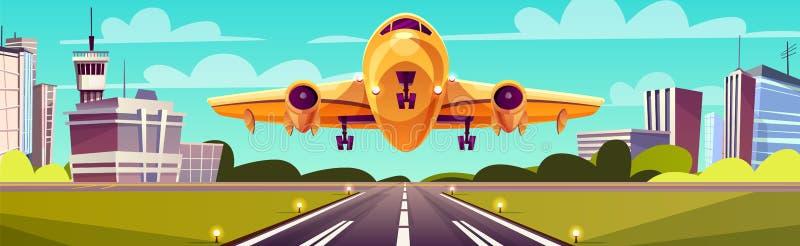 Vector o avião de passageiros amarelo dos desenhos animados, jato sobre a pista de decolagem ilustração stock