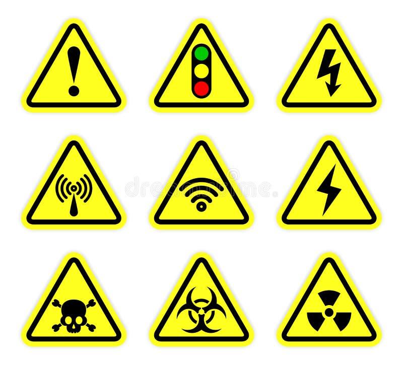 Vector o aviso, o símbolo do sinal e o sinal da radiação ilustração royalty free