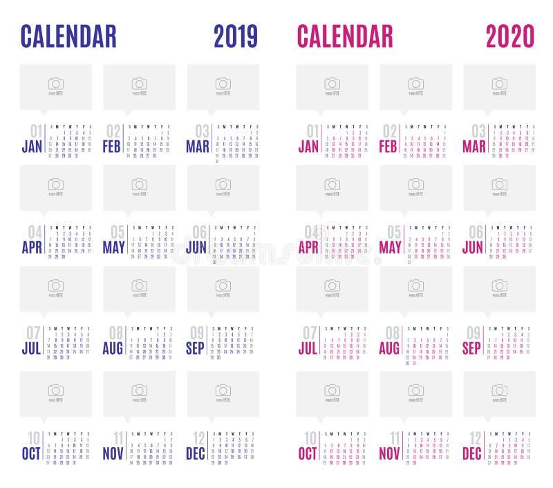Vector o azul 2019 do calendário e pique 2020 anos novos d simples moderno ilustração stock