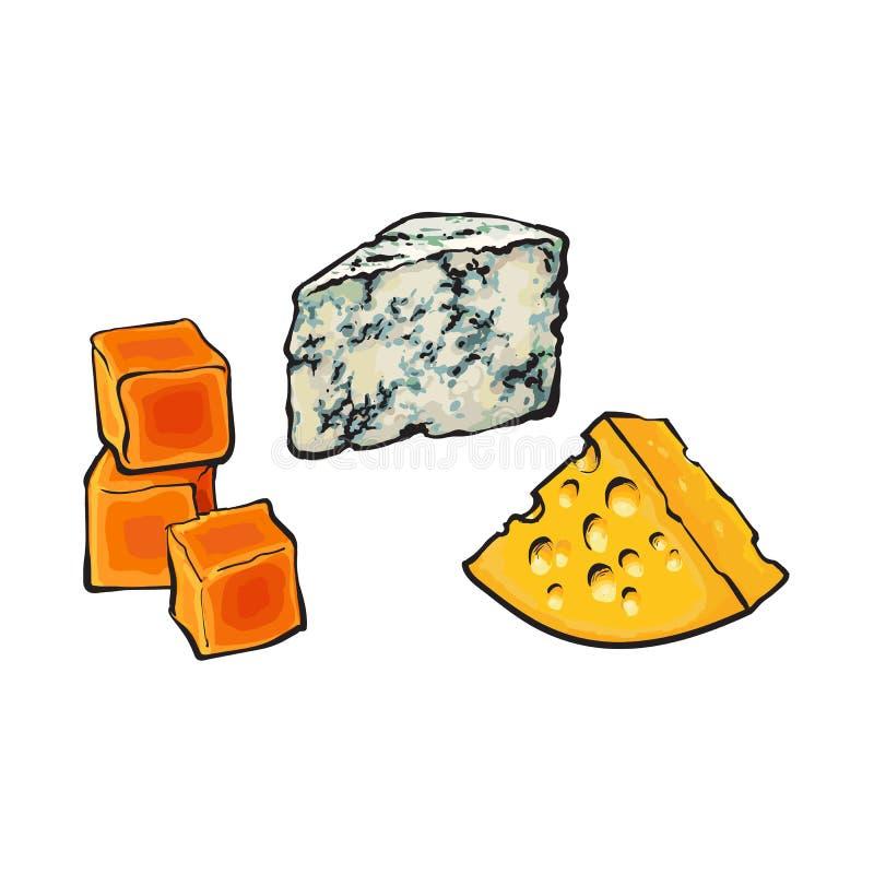 Vector o azul do esboço, o queijo Cheddar e os queijos do emmental ilustração stock