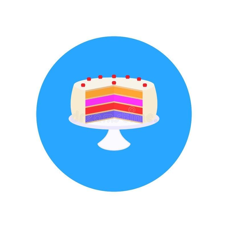 Vector o bolo doce com morangos em uma placa ilustração do vetor
