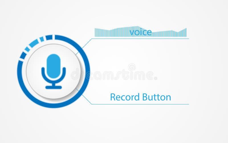 Vector o botão para a relação do programa da gravação sonora ilustração royalty free