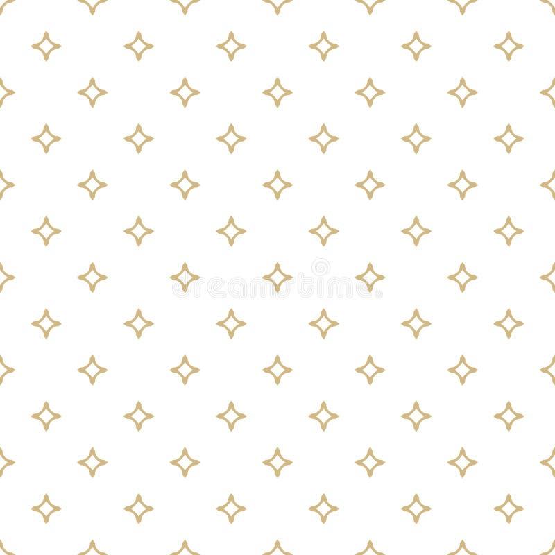 Vector o branco e o teste padrão sem emenda decorativo do ouro com diamantes ilustração royalty free