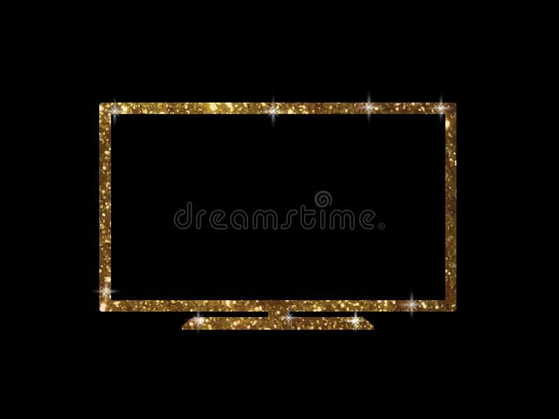 Vector o brilho dourado da tevê larga esperta lisa preta isolada de OLED ilustração do vetor