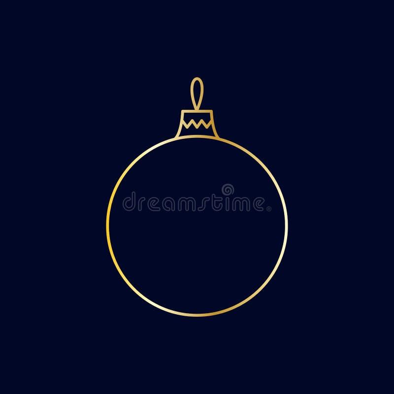 Vector o brinquedo linear dourado da bola do Natal no fundo escuro ilustração royalty free