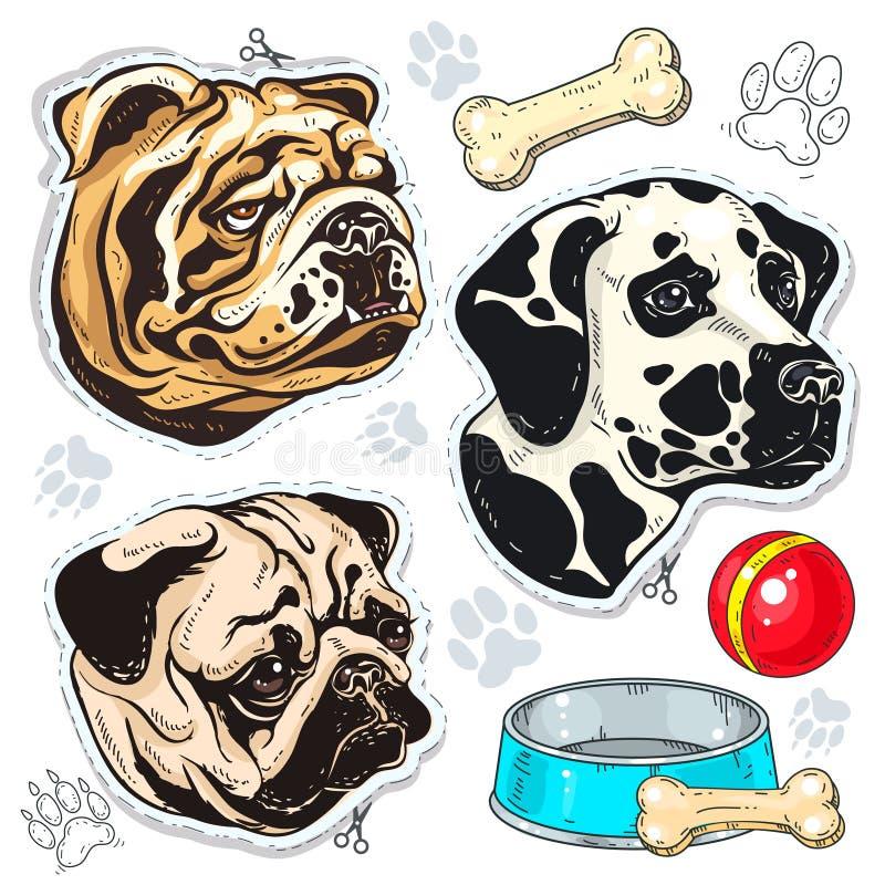 Vector o cão colorido ícones, o buldogue, o pug, o Dalmatian e uma bacia de osso ilustração do vetor