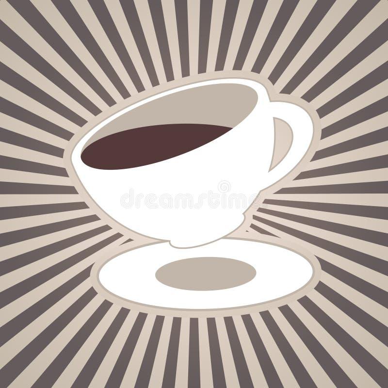 Vector o café ou o copo de chá e as listras, feixes, raios no café marrom, ordenham as cores brancas ilustração stock