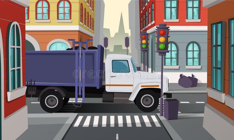 Vector o caminhão dos desperdícios na estrada transversaa, serviço municipal ilustração stock