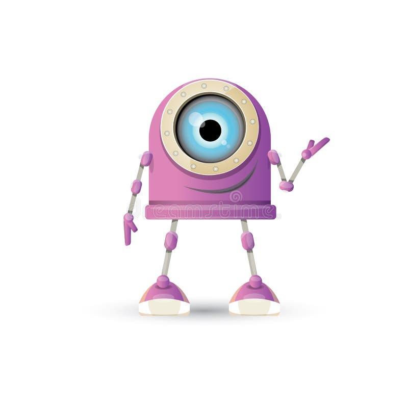 Vector o caráter amigável roxo do robô dos desenhos animados engraçados isolado no fundo branco Caçoa o brinquedo do robô 3d Ícon ilustração royalty free