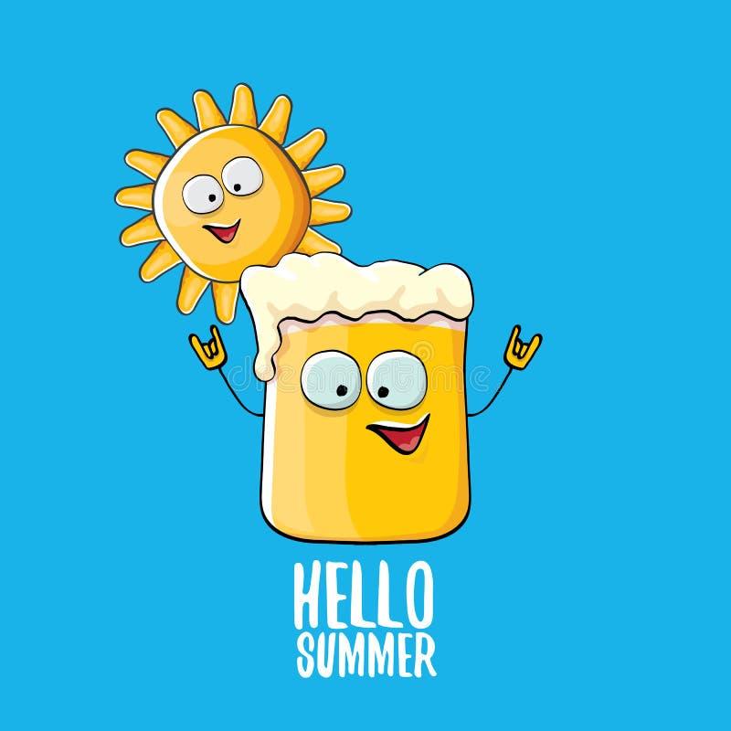 Vector o caráter funky do vidro de cerveja dos desenhos animados e o sol do verão isolados no fundo azul Olá! texto do verão e ce ilustração stock
