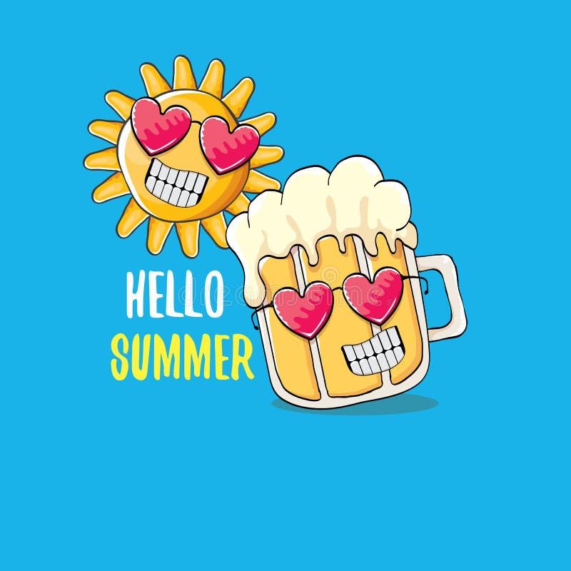 Vector o caráter funky do vidro de cerveja dos desenhos animados e o sol do verão isolados no fundo azul Olá! texto do verão e ce ilustração royalty free