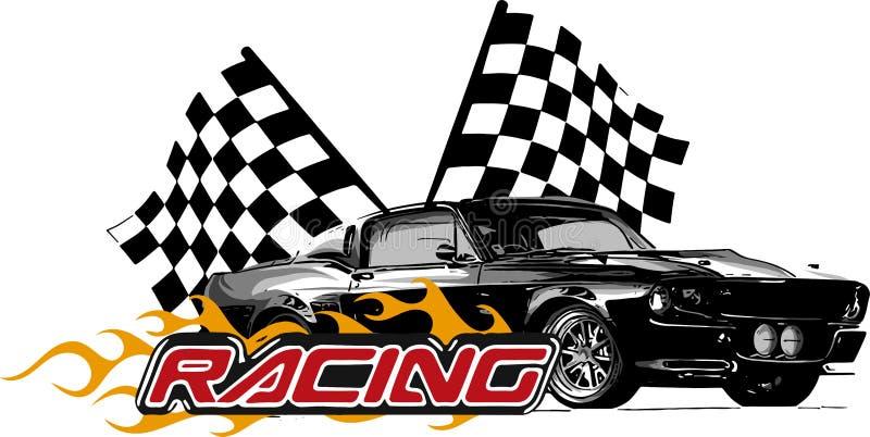 Vector o carro do músculo da ilustração com chamas e bandeira da raça ilustração do vetor