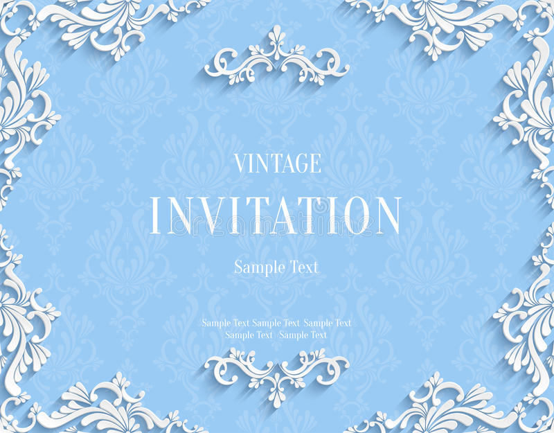 Vector o cartão azul do convite do vintage 3d com teste padrão floral do damasco ilustração do vetor