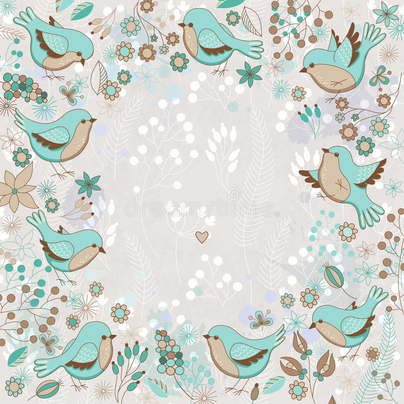 Vector o cartão bonito com quadro floral e pássaros imagem de stock