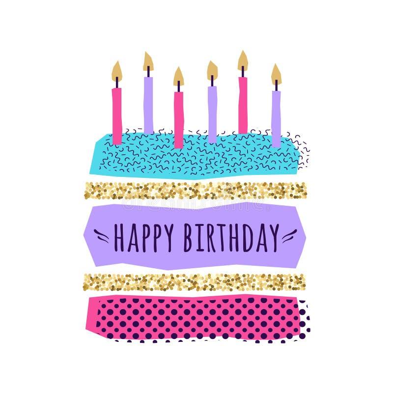 Vector o cartão bonito do feliz aniversario com bolo, velas ilustração royalty free