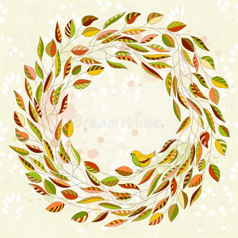 Vector o cartão colorido com grinalda floral e pássaro ilustração royalty free