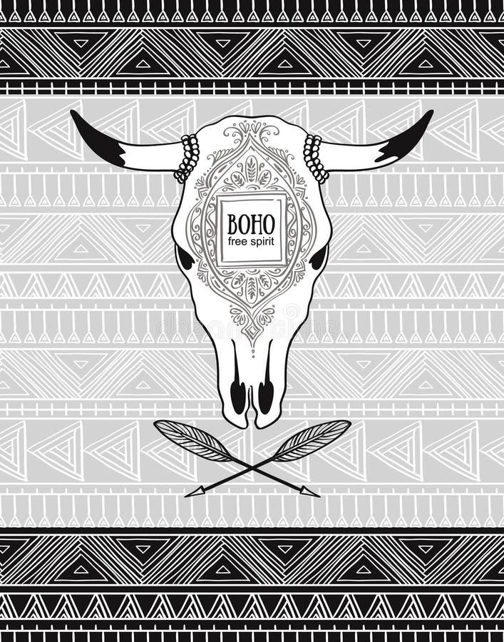 Vector o cartão com as setas étnicas cruzadas e o crânio do touro no fundo decorativo tribal ilustração royalty free