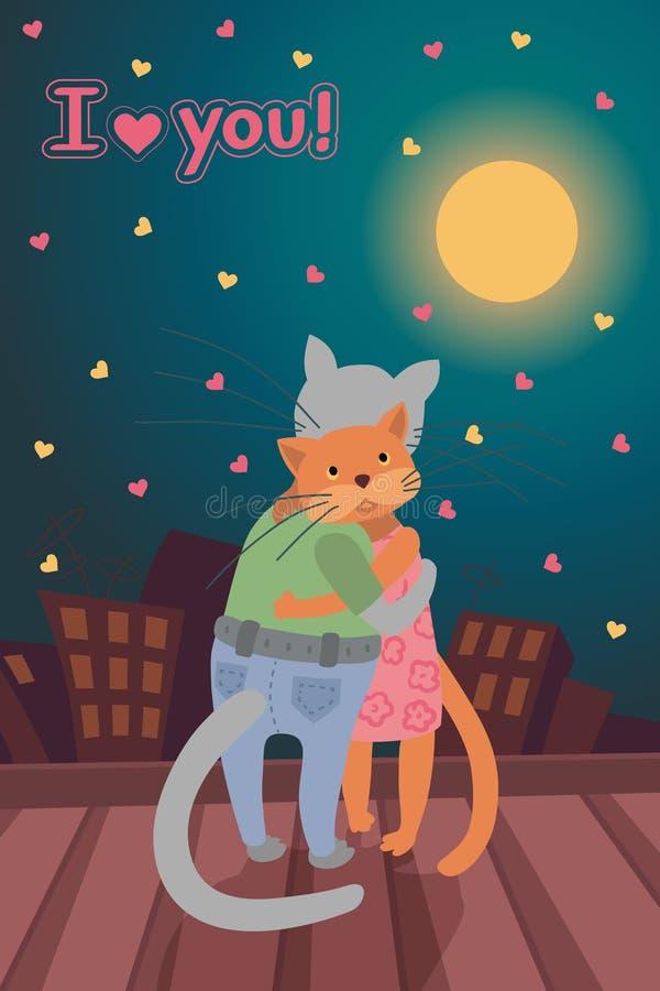 Vector o cartão com conceito do dia do Valentim s, dois gatos no telhado na noite fotografia de stock